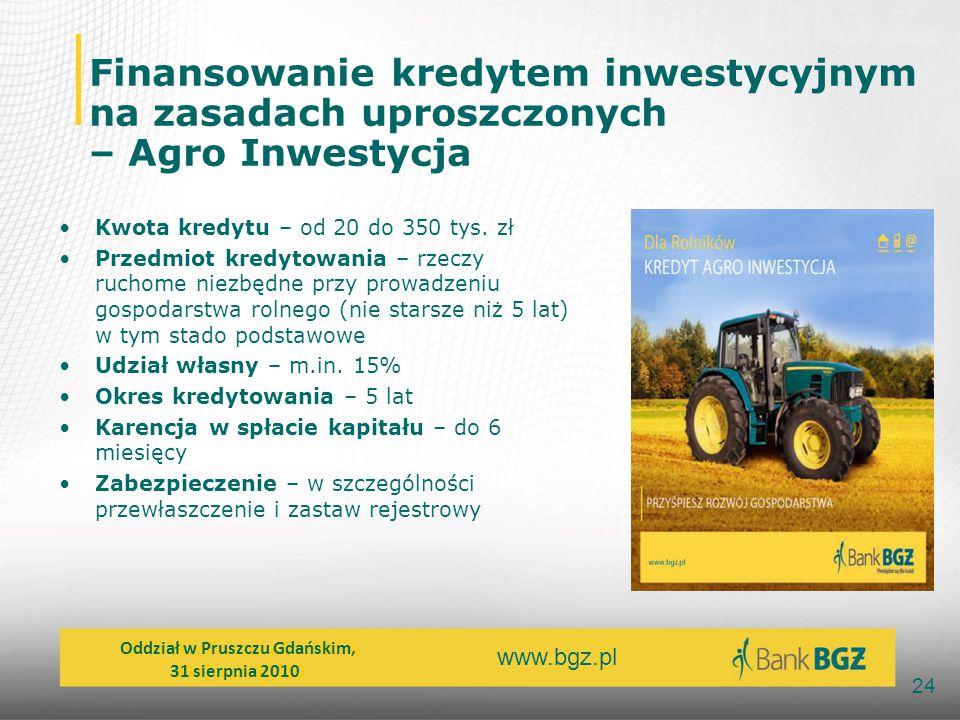 www.bgz.pl 24 Finansowanie kredytem inwestycyjnym na zasadach uproszczonych – Agro Inwestycja Kwota kredytu – od 20 do 350 tys. zł Przedmiot kredytowa