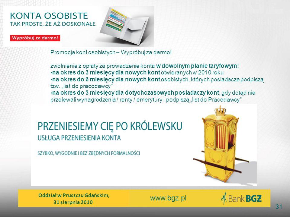 www.bgz.pl 31 Promocja kont osobistych – Wypróbuj za darmo! zwolnienie z opłaty za prowadzenie konta w dowolnym planie taryfowym: -na okres do 3 miesi
