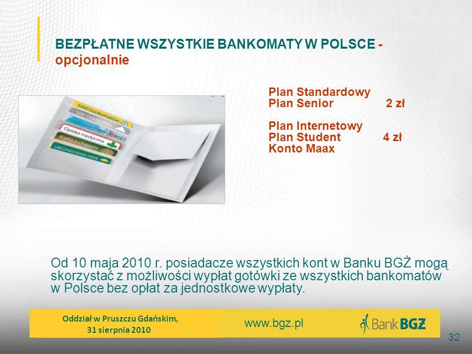 www.bgz.pl 32 BEZPŁATNE WSZYSTKIE BANKOMATY W POLSCE - opcjonalnie Od 10 maja 2010 r. posiadacze wszystkich kont w Banku BGŻ mogą skorzystać z możliwo