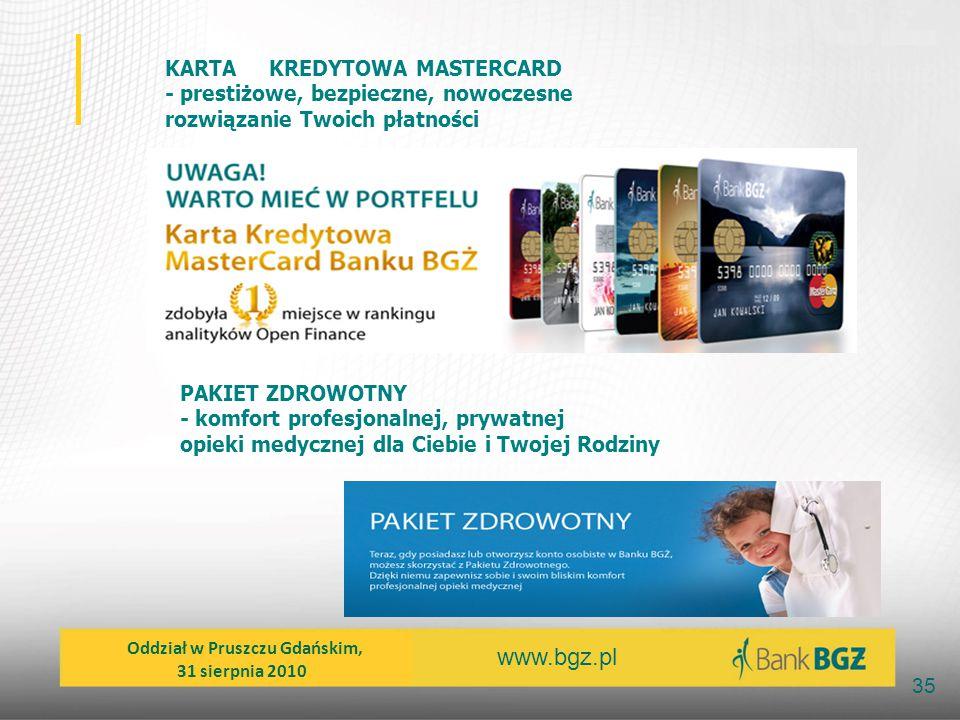 www.bgz.pl 35 KARTA KREDYTOWA MASTERCARD - prestiżowe, bezpieczne, nowoczesne rozwiązanie Twoich płatności PAKIET ZDROWOTNY - komfort profesjonalnej,