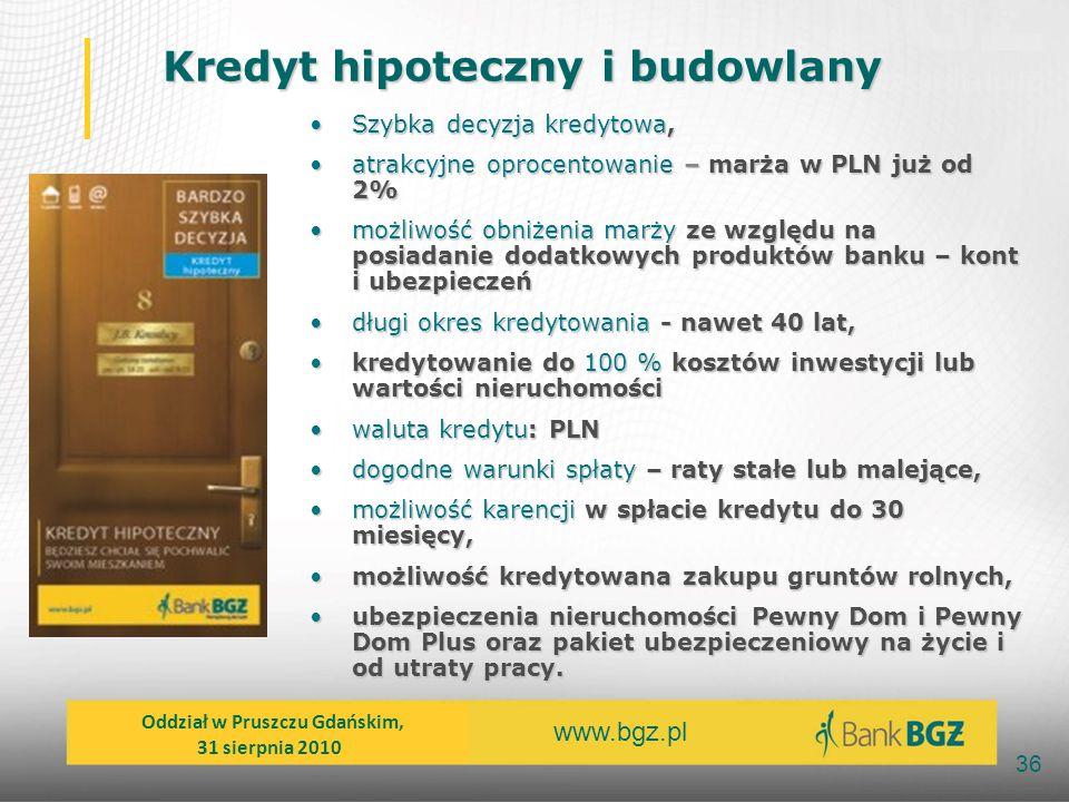 www.bgz.pl 36 Szybka decyzja kredytowa,Szybka decyzja kredytowa, atrakcyjne oprocentowanie – marża w PLN już od 2%atrakcyjne oprocentowanie – marża w