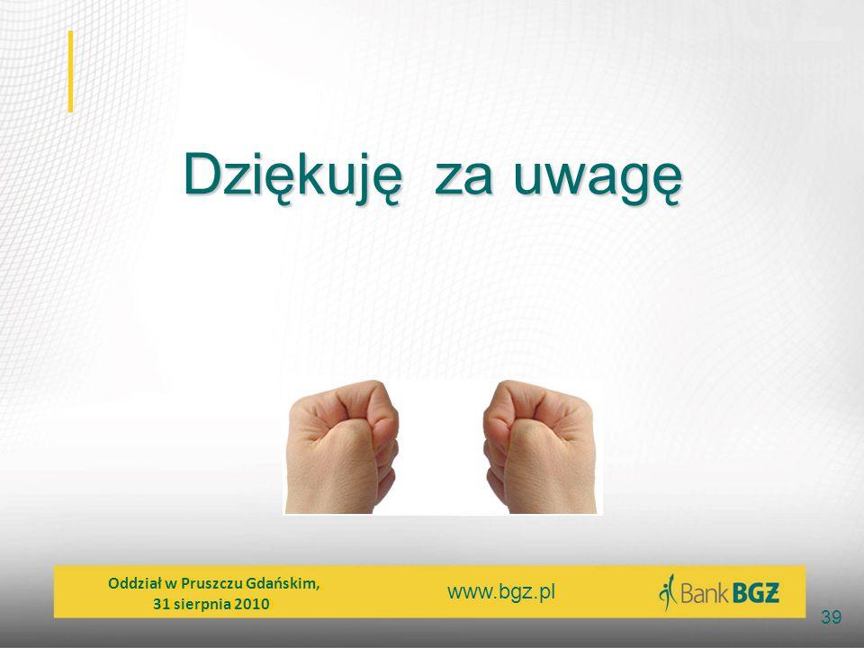 www.bgz.pl 39 Dziękuję za uwagę Oddział w Pruszczu Gdańskim, 31 sierpnia 2010 Oddział w Pruszczu Gdańskim, 31 sierpnia 2010