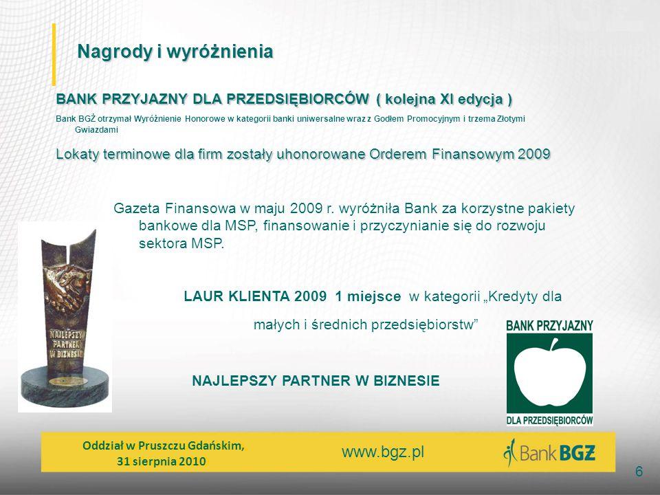 www.bgz.pl 6 Nagrody i wyróżnienia BANK PRZYJAZNY DLA PRZEDSIĘBIORCÓW ( kolejna XI edycja ) Bank BGŻ otrzymał Wyróżnienie Honorowe w kategorii banki u