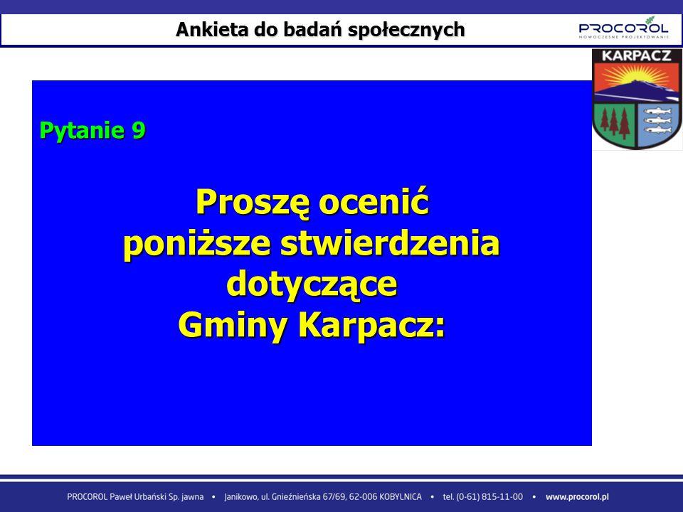 Ankieta do badań społecznych Pytanie 9 Proszę ocenić poniższe stwierdzenia dotyczące Gminy Karpacz: