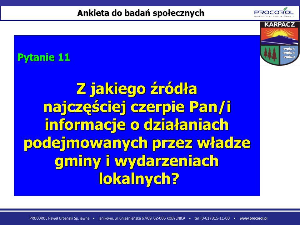 Ankieta do badań społecznych Pytanie 11 Z jakiego źródła najczęściej czerpie Pan/i informacje o działaniach podejmowanych przez władze gminy i wydarze