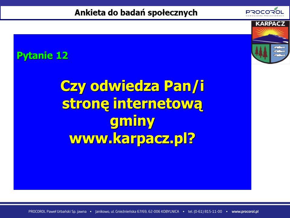 Ankieta do badań społecznych Pytanie 12 Czy odwiedza Pan/i stronę internetową gminywww.karpacz.pl?