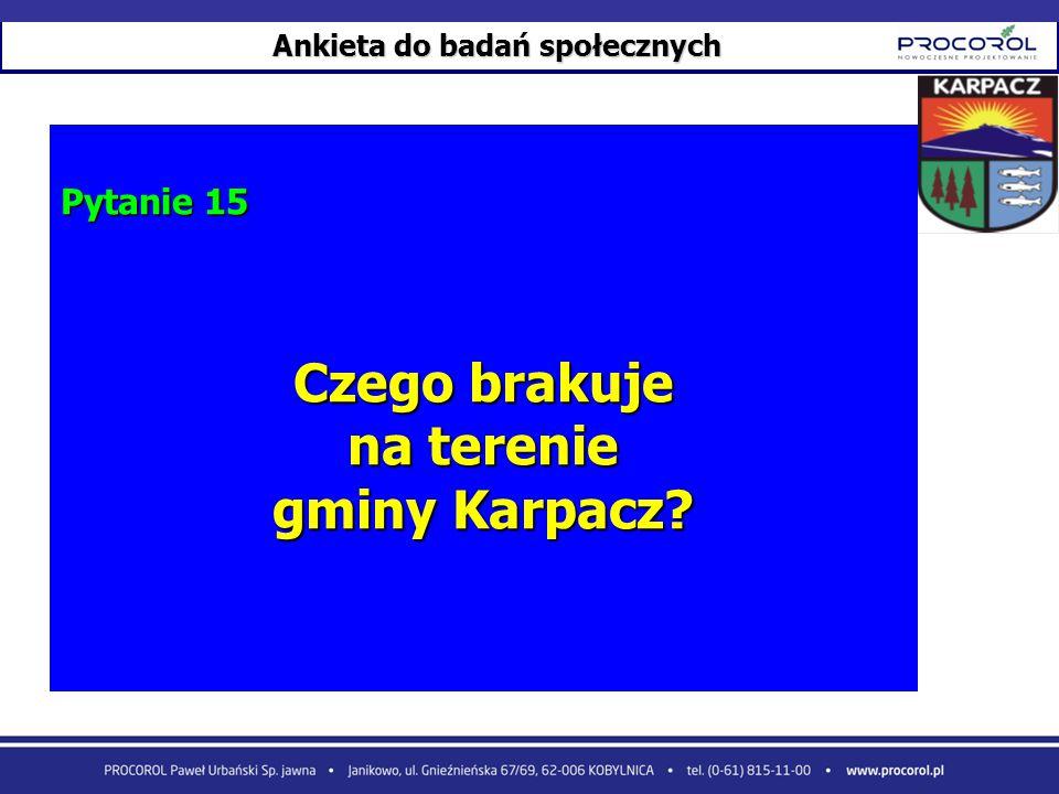 Ankieta do badań społecznych Pytanie 15 Czego brakuje na terenie gminy Karpacz?
