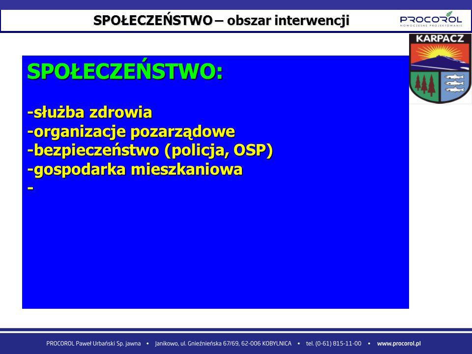 SPOŁECZEŃSTWO – obszar interwencji SPOŁECZEŃSTWO: -służba zdrowia -organizacje pozarządowe -bezpieczeństwo (policja, OSP) -gospodarka mieszkaniowa -