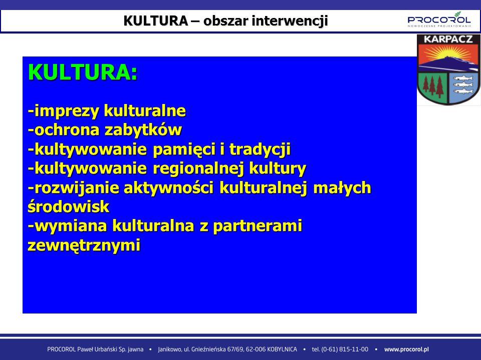 KULTURA – obszar interwencji KULTURA: -imprezy kulturalne -ochrona zabytków -kultywowanie pamięci i tradycji -kultywowanie regionalnej kultury -rozwij