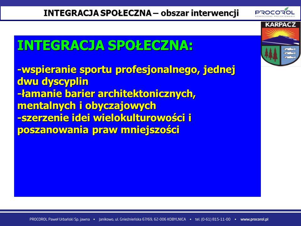 INTEGRACJA SPOŁECZNA – obszar interwencji INTEGRACJA SPOŁECZNA: -wspieranie sportu profesjonalnego, jednej dwu dyscyplin -łamanie barier architektonic