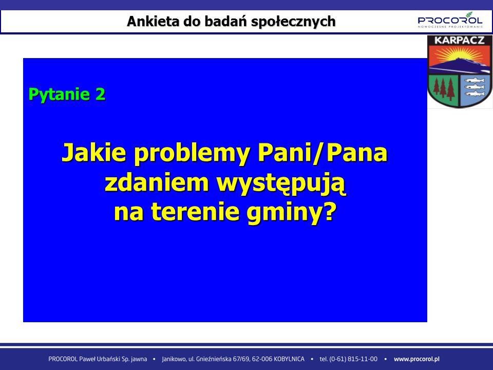Ankieta do badań społecznych Pytanie 2 Jakie problemy Pani/Pana zdaniem występują na terenie gminy?