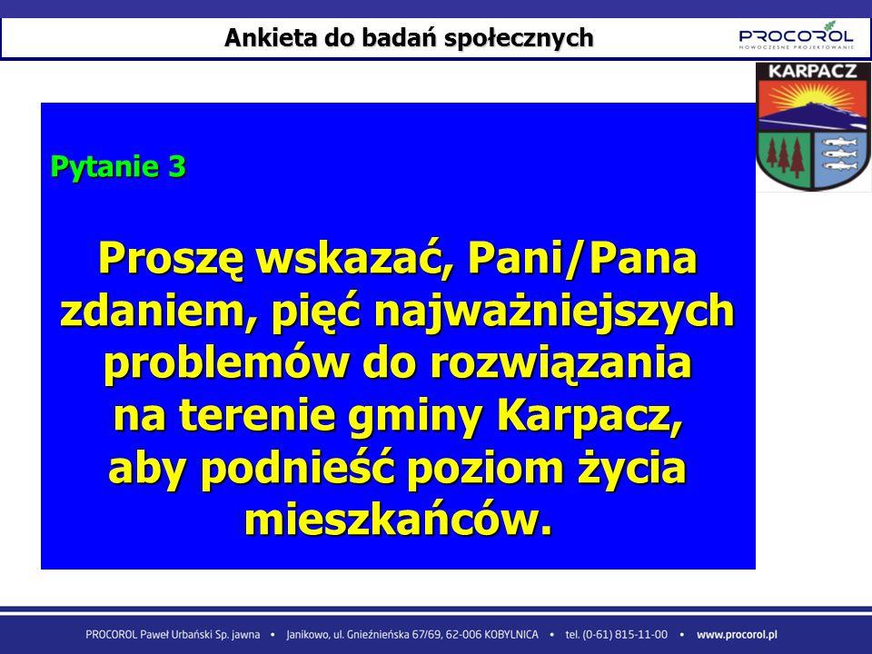 Ankieta do badań społecznych Pytanie 3 Proszę wskazać, Pani/Pana zdaniem, pięć najważniejszych problemów do rozwiązania na terenie gminy Karpacz, aby
