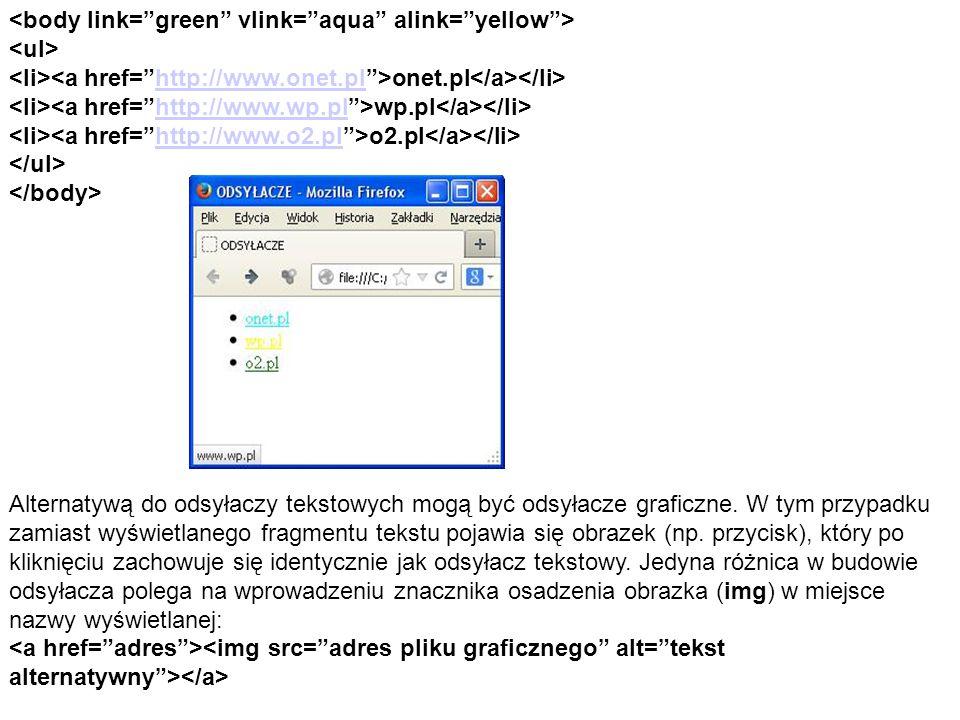 onet.pl http://www.onet.pl wp.pl http://www.wp.pl o2.pl http://www.o2.pl Alternatywą do odsyłaczy tekstowych mogą być odsyłacze graficzne.