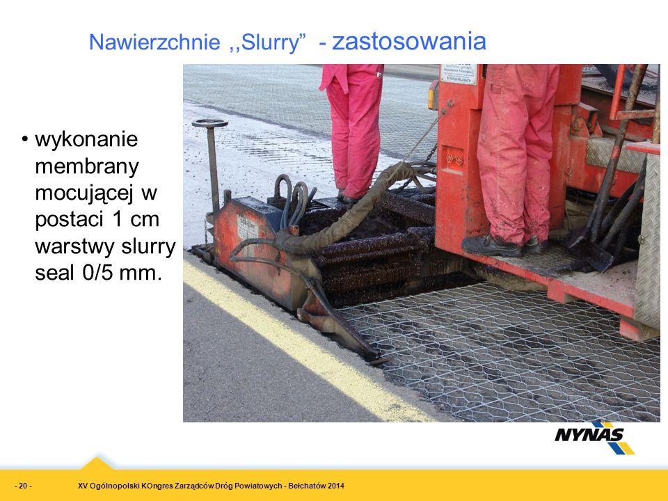 """Nawierzchnie,,Slurry"""" - zastosowania wykonanie membrany mocującej w postaci 1 cm warstwy slurry seal 0/5 mm. XV Ogólnopolski KOngres Zarządców Dróg Po"""