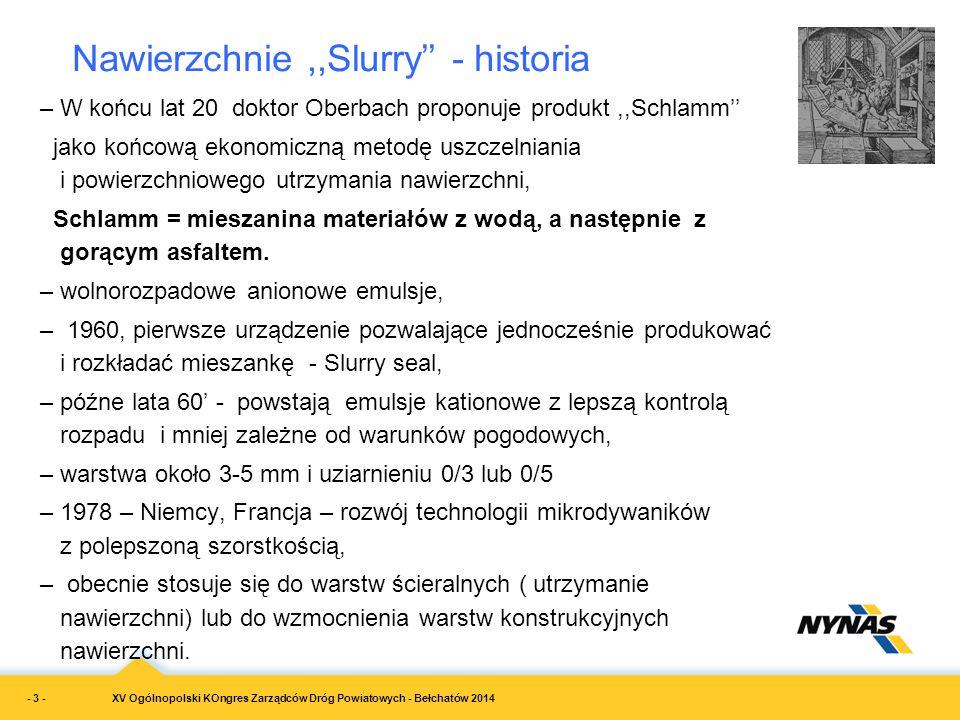 XV Ogólnopolski KOngres Zarządców Dróg Powiatowych - Bełchatów 2014 –W końcu lat 20 doktor Oberbach proponuje produkt,,Schlamm'' jako końcową ekonomic