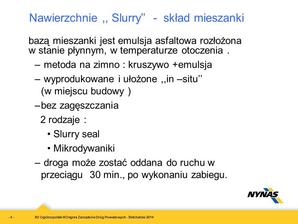 XV Ogólnopolski KOngres Zarządców Dróg Powiatowych - Bełchatów 2014 bazą mieszanki jest emulsja asfaltowa rozłożona w stanie płynnym, w temperaturze o