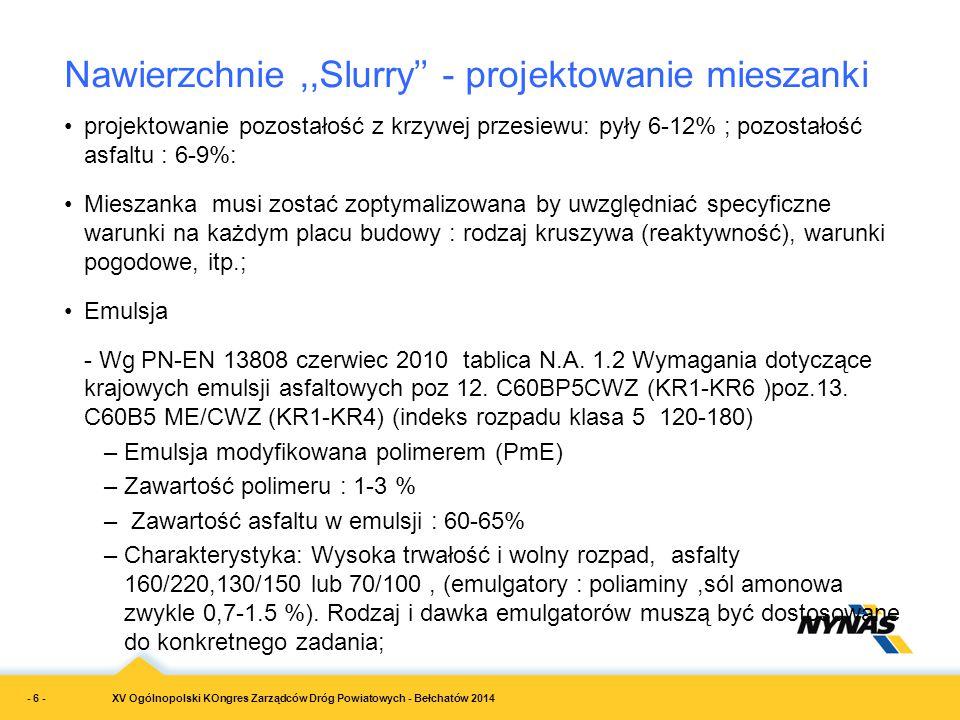 XV Ogólnopolski KOngres Zarządców Dróg Powiatowych - Bełchatów 2014 projektowanie pozostałość z krzywej przesiewu: pyły 6-12% ; pozostałość asfaltu :