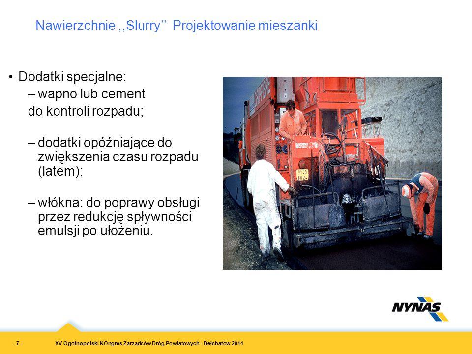 XV Ogólnopolski KOngres Zarządców Dróg Powiatowych - Bełchatów 2014 Dodatki specjalne: –wapno lub cement do kontroli rozpadu; –dodatki opóźniające do