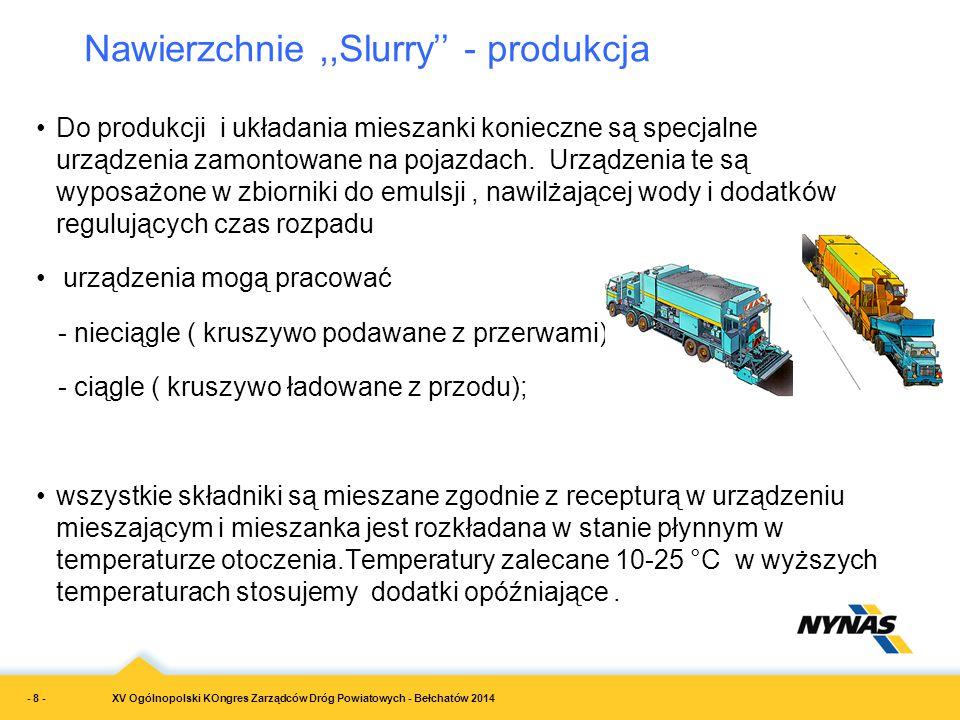 XV Ogólnopolski KOngres Zarządców Dróg Powiatowych - Bełchatów 2014 Nawierzchnie,,Slurry'' - produkcja Do produkcji i układania mieszanki konieczne są