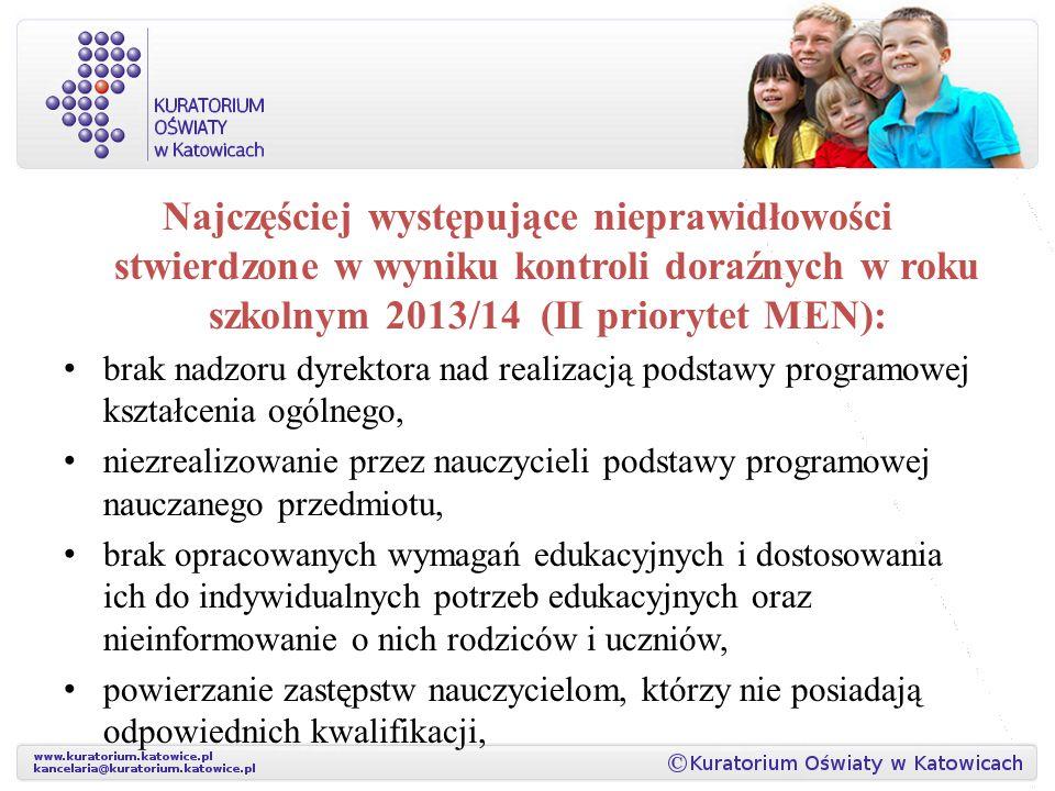 Najczęściej występujące nieprawidłowości stwierdzone w wyniku kontroli doraźnych w roku szkolnym 2013/14 (II priorytet MEN): brak nadzoru dyrektora na