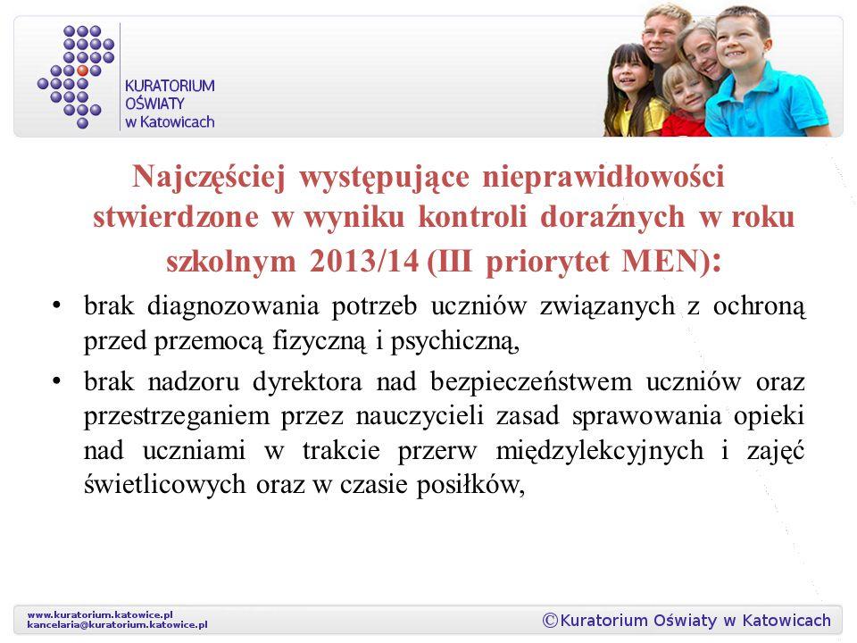 Najczęściej występujące nieprawidłowości stwierdzone w wyniku kontroli doraźnych w roku szkolnym 2013/14 (III priorytet MEN) : brak diagnozowania potr