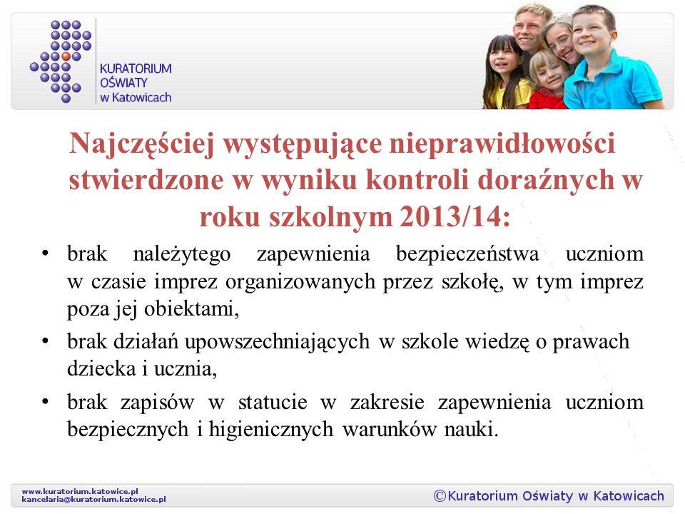 Najczęściej występujące nieprawidłowości stwierdzone w wyniku kontroli doraźnych w roku szkolnym 2013/14: brak należytego zapewnienia bezpieczeństwa u