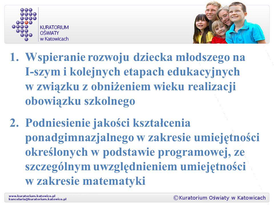 1.Wspieranie rozwoju dziecka młodszego na I-szym i kolejnych etapach edukacyjnych w związku z obniżeniem wieku realizacji obowiązku szkolnego 2.Podnie