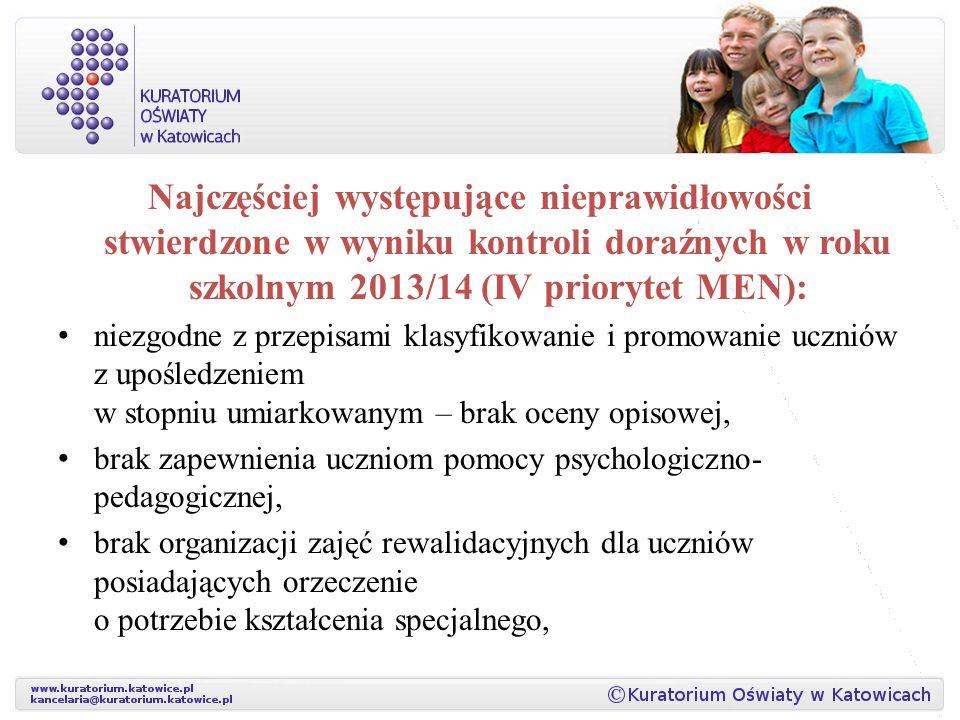 Najczęściej występujące nieprawidłowości stwierdzone w wyniku kontroli doraźnych w roku szkolnym 2013/14 (IV priorytet MEN): niezgodne z przepisami kl