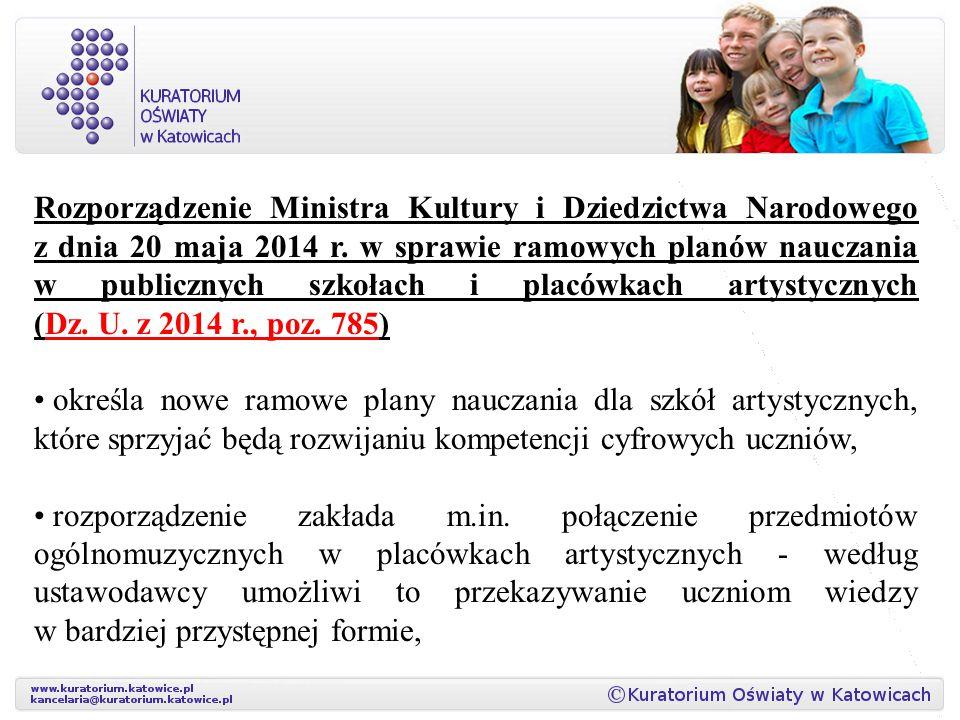 Rozporządzenie Ministra Kultury i Dziedzictwa Narodowego z dnia 20 maja 2014 r. w sprawie ramowych planów nauczania w publicznych szkołach i placówkac