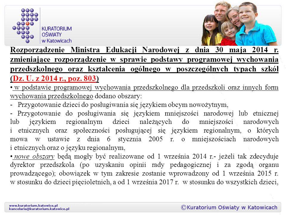 Rozporządzenie Ministra Edukacji Narodowej z dnia 30 maja 2014 r. zmieniające rozporządzenie w sprawie podstawy programowej wychowania przedszkolnego