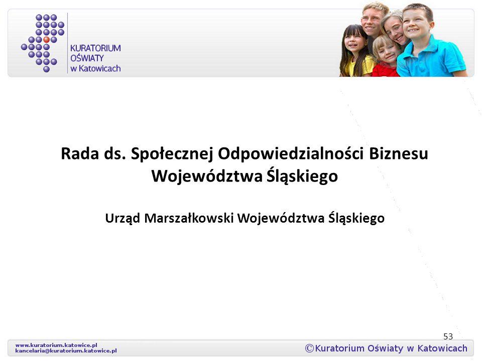 Rada ds. Społecznej Odpowiedzialności Biznesu Województwa Śląskiego Urząd Marszałkowski Województwa Śląskiego 53