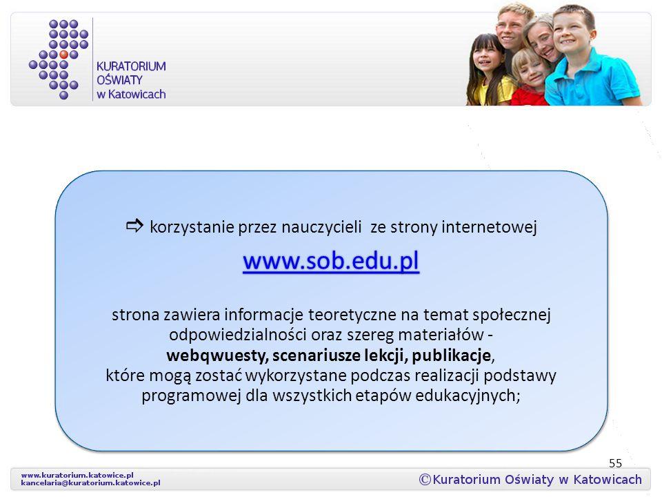 55  korzystanie przez nauczycieli ze strony internetowej www.sob.edu.pl www.sob.edu.pl www.sob.edu.pl strona zawiera informacje teoretyczne na temat