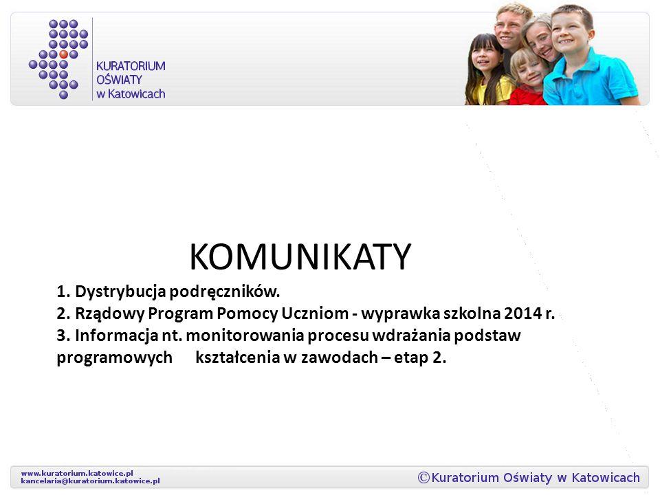 KOMUNIKATY 1. Dystrybucja podręczników. 2. Rządowy Program Pomocy Uczniom - wyprawka szkolna 2014 r. 3. Informacja nt. monitorowania procesu wdrażania