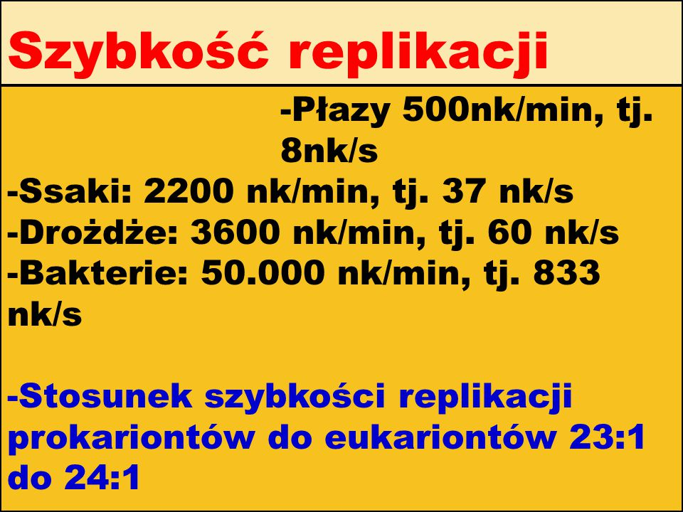 Szybkość replikacji -Płazy 500nk/min, tj. 8nk/s -Ssaki: 2200 nk/min, tj. 37 nk/s -Drożdże: 3600 nk/min, tj. 60 nk/s -Bakterie: 50.000 nk/min, tj. 833