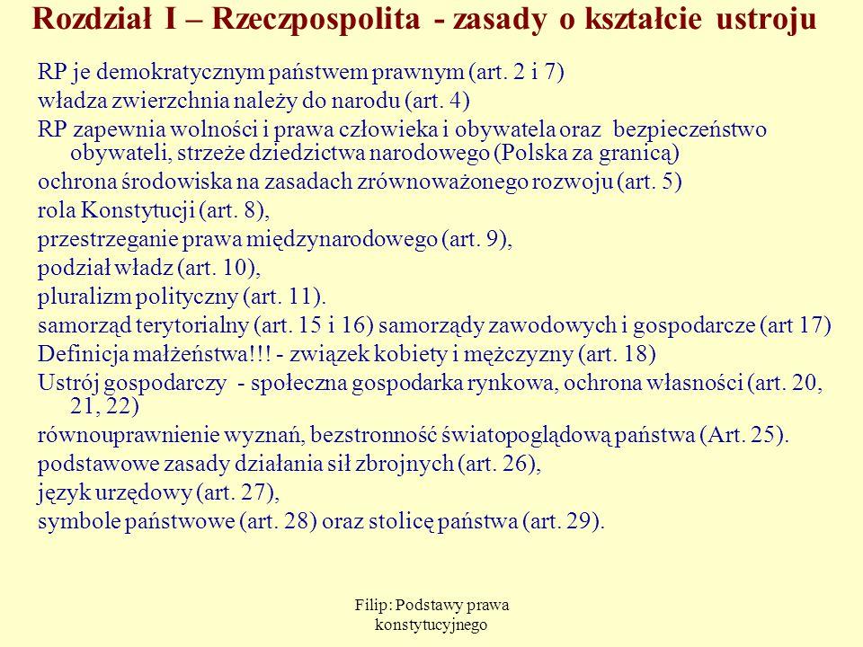 Filip: Podstawy prawa konstytucyjnego Rozdział I – Rzeczpospolita - zasady o kształcie ustroju RP je demokratycznym państwem prawnym (art. 2 i 7) wład