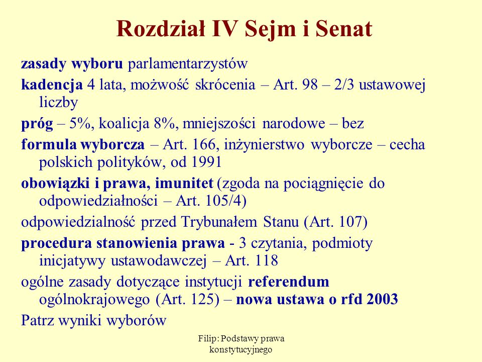 Filip: Podstawy prawa konstytucyjnego Rozdział IV Sejm i Senat zasady wyboru parlamentarzystów kadencja 4 lata, możwość skrócenia – Art. 98 – 2/3 usta