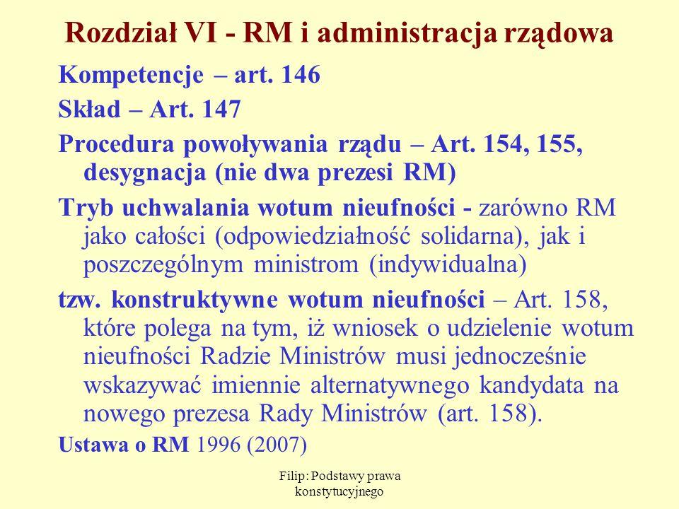 Filip: Podstawy prawa konstytucyjnego Rozdział VI - RM i administracja rządowa Kompetencje – art. 146 Skład – Art. 147 Procedura powoływania rządu – A