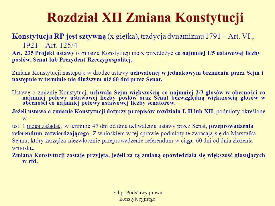 Filip: Podstawy prawa konstytucyjnego Rozdział XII Zmiana Konstytucji Konstytucja RP jest sztywną (x giętka), tradycja dynamizmu 1791 – Art. VI., 1921