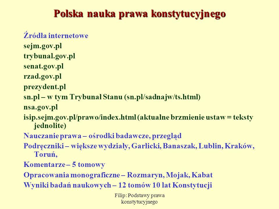 Filip: Podstawy prawa konstytucyjnego Polska nauka prawa konstytucyjnego Źródła internetowe sejm.gov.pl trybunal.gov.pl senat.gov.pl rzad.gov.pl prezy