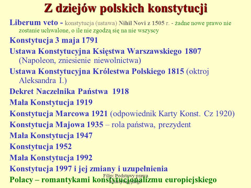 Filip: Podstawy prawa konstytucyjnego Z dziejów polskich konstytucji Liberum veto - konstytucja (ustawa) Nihil Novi z 1505 r. - żadne nowe prawo nie z