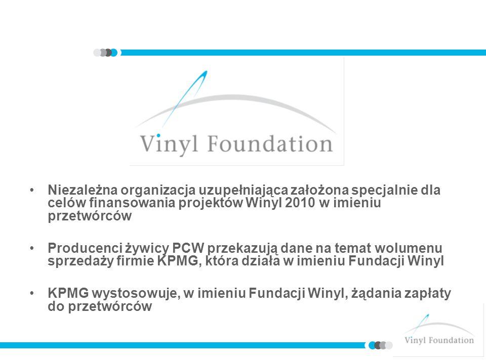 Niezależna organizacja uzupełniająca założona specjalnie dla celów finansowania projektów Winyl 2010 w imieniu przetwórców Producenci żywicy PCW przekazują dane na temat wolumenu sprzedaży firmie KPMG, która działa w imieniu Fundacji Winyl KPMG wystosowuje, w imieniu Fundacji Winyl, żądania zapłaty do przetwórców