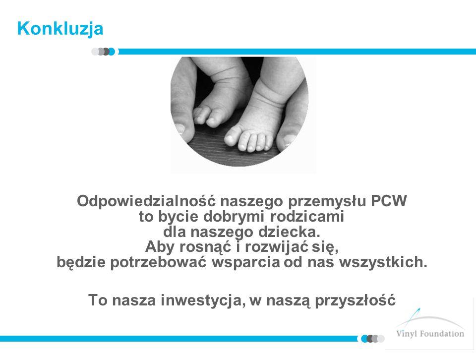 Konkluzja Odpowiedzialność naszego przemysłu PCW to bycie dobrymi rodzicami dla naszego dziecka. Aby rosnąć i rozwijać się, będzie potrzebować wsparci