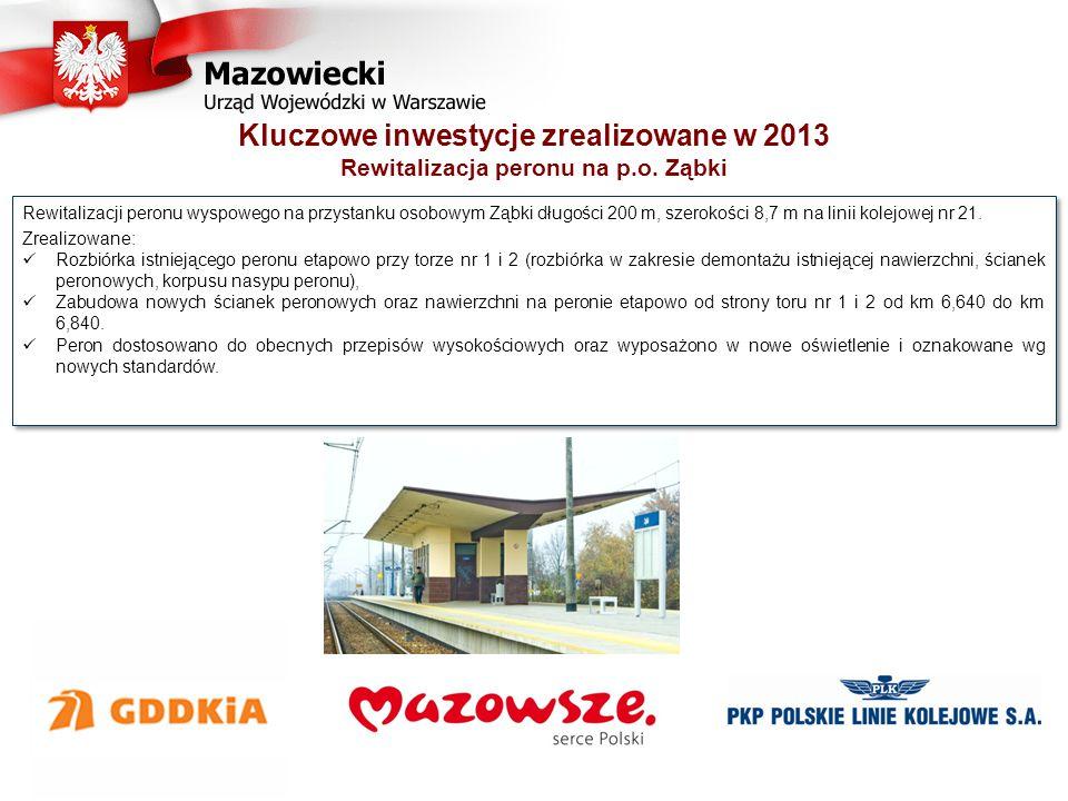 Kluczowe inwestycje zrealizowane w 2013 Etap I - Poprawa bezpieczeństwa na moście średnicowym w Warszawie - kompleksowa wymiana mostownic Dotychczasowa prędkość maksymalna pociągów podmiejskich 40 km/h podwyższona do 60 km/h.