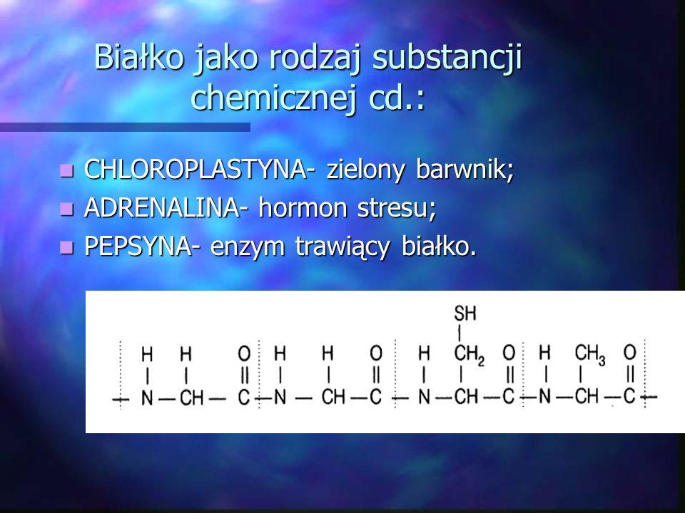 Białko jako rodzaj substancji chemicznej: ALBUMINA-pierwsze poznane białko z jaja kurzego: C 237 H 386 O 78 N 58 S 2 HEMOGLOBINA- czerwony barwnik krw