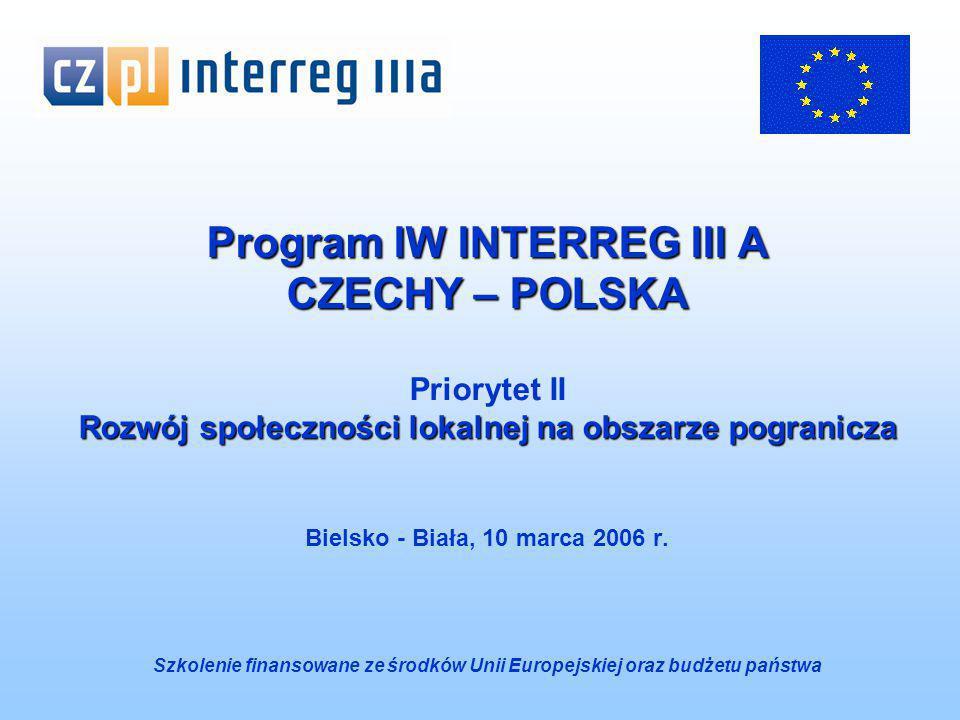 Program IW INTERREG III A CZECHY – POLSKA Priorytet II Rozwój społeczności lokalnej na obszarze pogranicza Bielsko - Biała, 10 marca 2006 r.