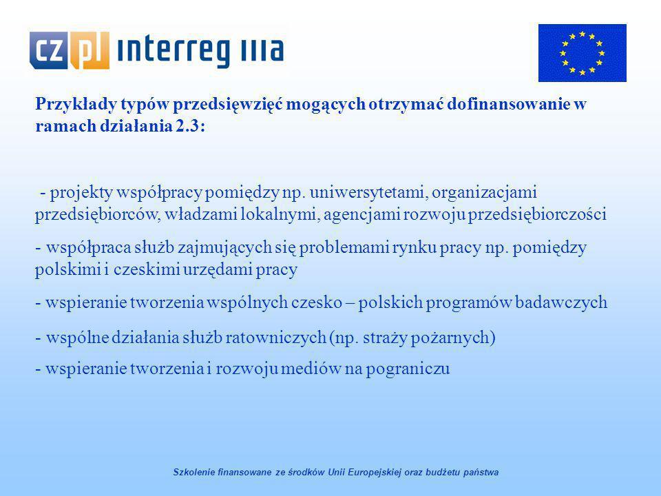 Przykłady typów przedsięwzięć mogących otrzymać dofinansowanie w ramach działania 2.3: - projekty współpracy pomiędzy np.