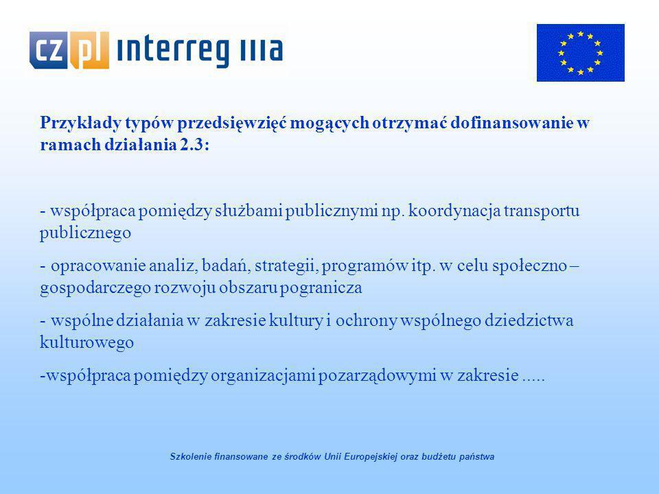 Przykłady typów przedsięwzięć mogących otrzymać dofinansowanie w ramach działania 2.3: - współpraca pomiędzy służbami publicznymi np.