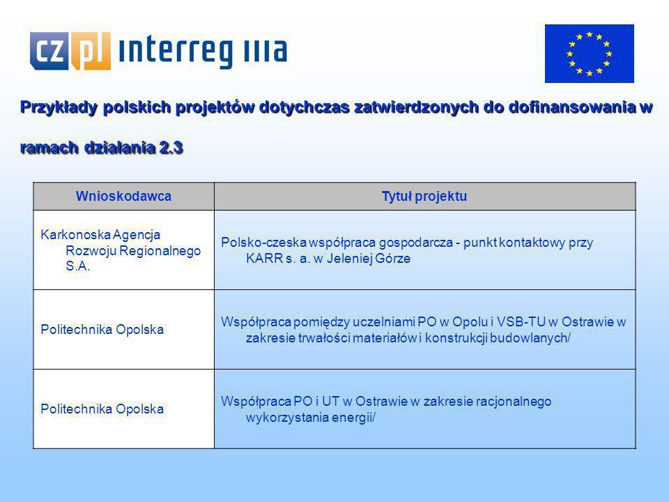 Przykłady polskich projektów dotychczas zatwierdzonych do dofinansowania w ramach działania 2.3 WnioskodawcaTytuł projektu Karkonoska Agencja Rozwoju Regionalnego S.A.