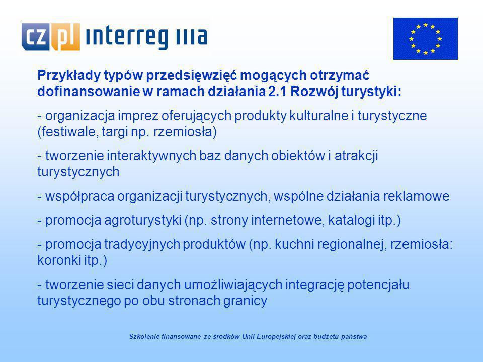 Przykłady typów przedsięwzięć mogących otrzymać dofinansowanie w ramach działania 2.1 Rozwój turystyki: - - organizacja imprez oferujących produkty kulturalne i turystyczne (festiwale, targi np.