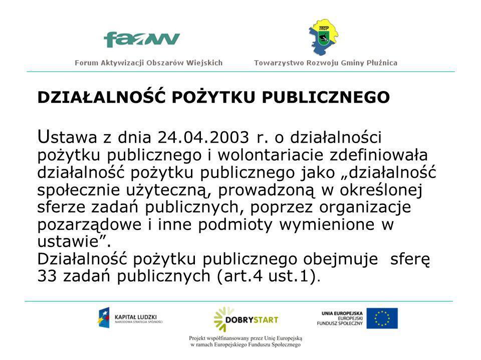 DZIAŁALNOŚĆ POŻYTKU PUBLICZNEGO U stawa z dnia 24.04.2003 r.